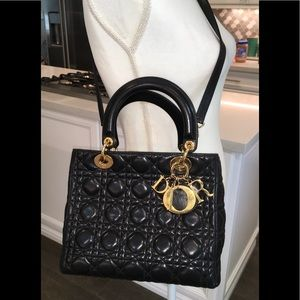 Authenticated Lady Dior quilted lamb skin bag med